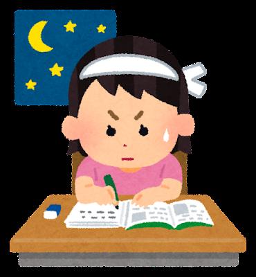 勉強のイラスト「テスト勉強・女の子」