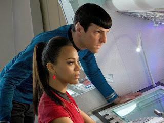 Zachary Quinto as Spock, Zoe Saldana as Uhura in Star Trek Into Darkness, Directed by J. J. Abrams