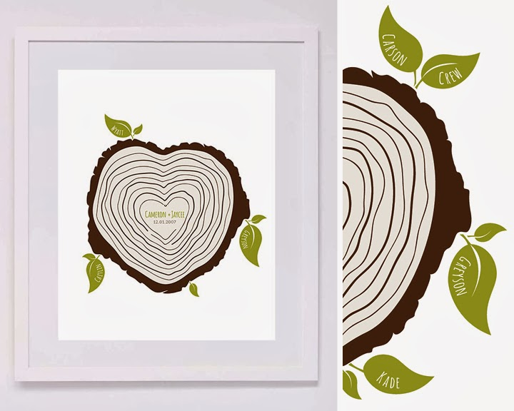 Personalized Family Heart Shaped Tree Stump Print