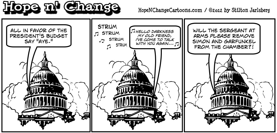 For the second time in a row, Barack Obama's budget is unanimously voted down by Democrats and Republicans, hopenchange, hope n' change, hope and change, stilton jarlsberg, tea party, political cartoon