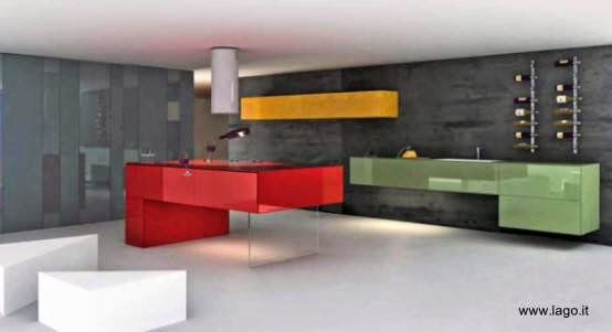 more slingpic powered by cocina minimalista de intensos colores mueble montado en la pared diseo italiano lago