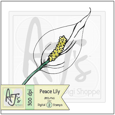 Peace Lily, Flower, Digital Stamp
