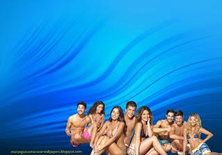 Wallpapers dos Morangos com Açucar Elenco de Jovens Actores pousando na praia em fundo de tela Ondas na Água