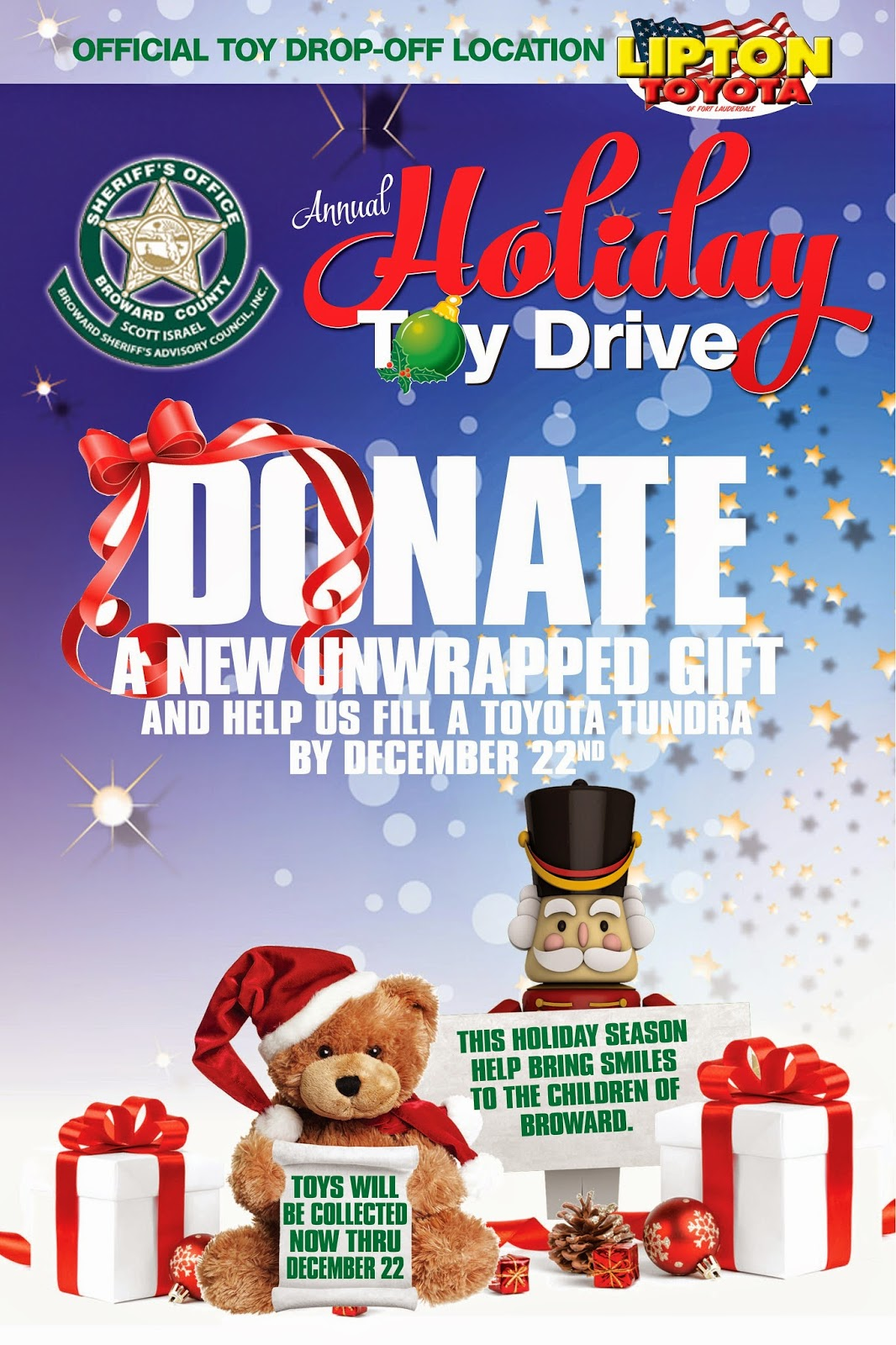Holiday Toy Drive : Lipton toyota broward sheriff s office annual holiday toy
