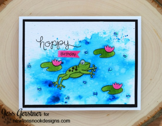 Hoppy Birthday Frog Card by Jess Gerstner | Hoppy Days Valentine Stamp Set by Newton's Nook Designs #newtonsnook