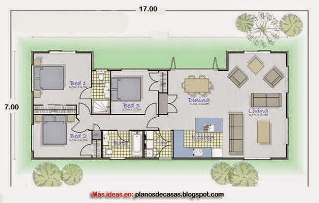 Plano de casa rectangular de 17 m x 7 m planos de casas - Planos de casas rectangulares ...