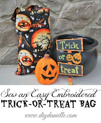 How to sew an easy embroidered trick-or-treat bag for your child for Halloween. It's not complicated and it has their name on it!