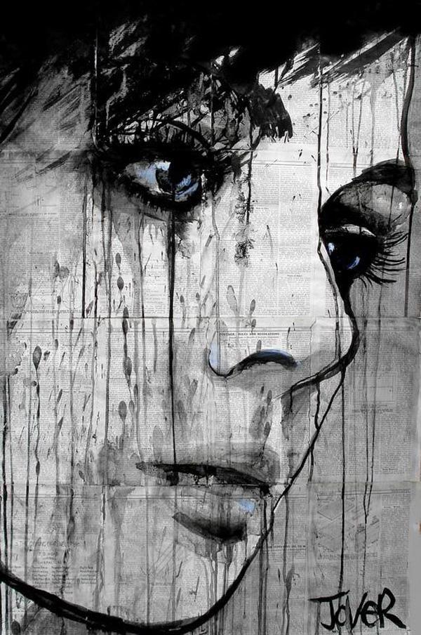Pintura tinta china mujer alto contraste