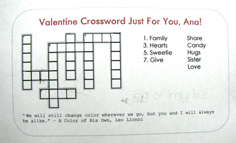 Valentine Crosswords  English Worksheets StValentines 5