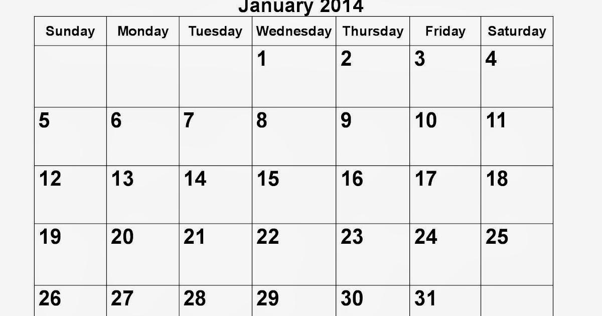 January 2014 Calendar Printable #17 - Printable Calendar ...
