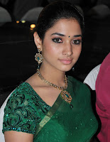 Tamanna Bhatia Cute Unseen Pics in Green Saree Matching Stone Ear Rings Necklace
