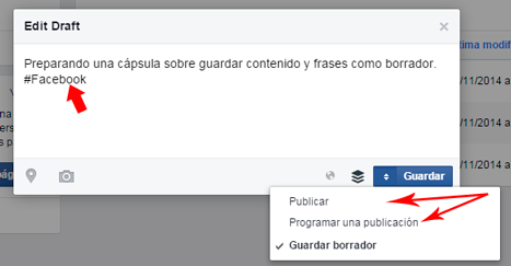 Borradores en facebook draft