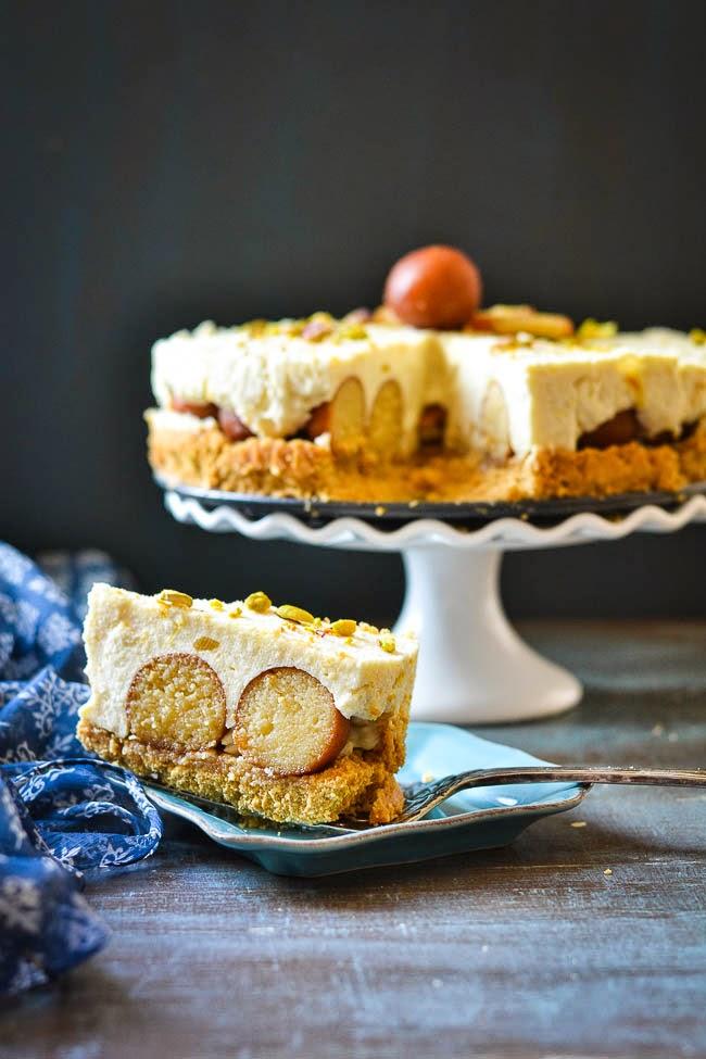Mix And Stir Gulab Jamun Cheesecake