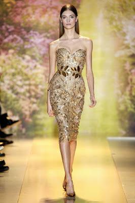 robe fourreau brodée d'or défilé printemps été 2014Haute couture Zuhair Murad
