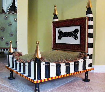 hand painted black and white striped dog bed