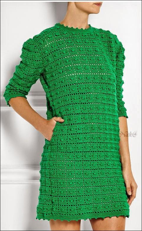 Vestido corto con media manga / patrones crochet | Crochet y Dos ...