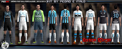 template+pronto PES 2012: Uniforme Grêmio Foot Ball 12/13