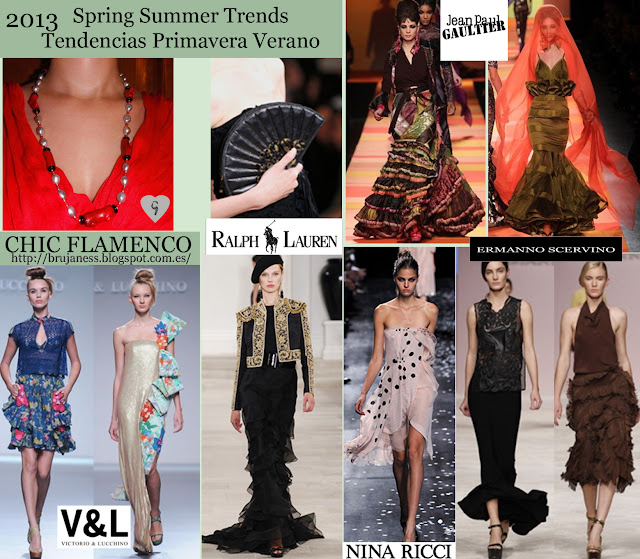 Jean Paul Gaultier, ermanno scervino, Victorio & Lucchino, Chic Flamenco on Fashion shows Spring Summer 2013/ Tendencia Chic Flamenco en la pasarela Primavera verano 2013, Ralph Lauren, hat, sombrero, earrings, jacket, chaqueta, striped, a rallas, rallas, dress, vestido, blue, azul, long, necklace, collar, largo, earrings, pendientes, blusa, blouse, print, estampado, dots, puntos, topos, ruffles, volantes, red, rojo, nina ricci, roverto verino, emilio de la morena, Spanish, español