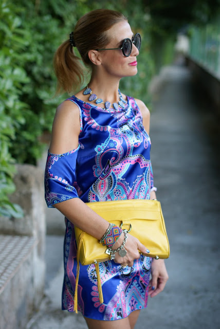 satin mini dress, Rebecca Minkoff yellow MAC bag, paisley dress, Fashion and Cookies, fashion blogger