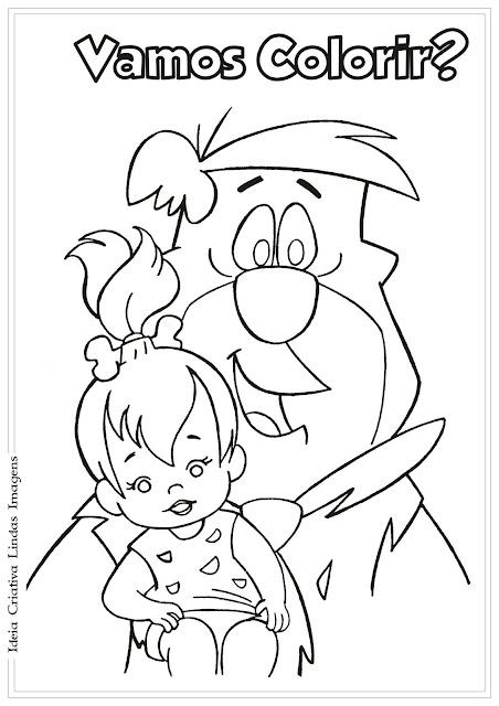 Os Flintstones Fred e Pedrita para colorir