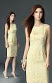 Restock: Sleeveless White Flowers Yellow Gold OL Dress