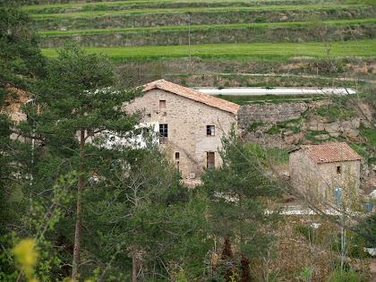 El Molí de Casancots amb la bassa al seu darrere