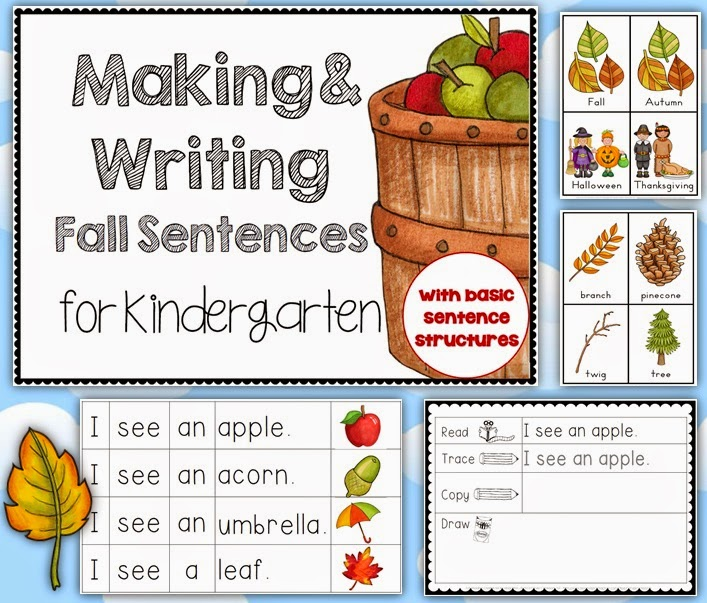 Making and Writing Fall Sentences for Kindergarten, includes vocabulary cards and cut and past activities with basic sentence structures