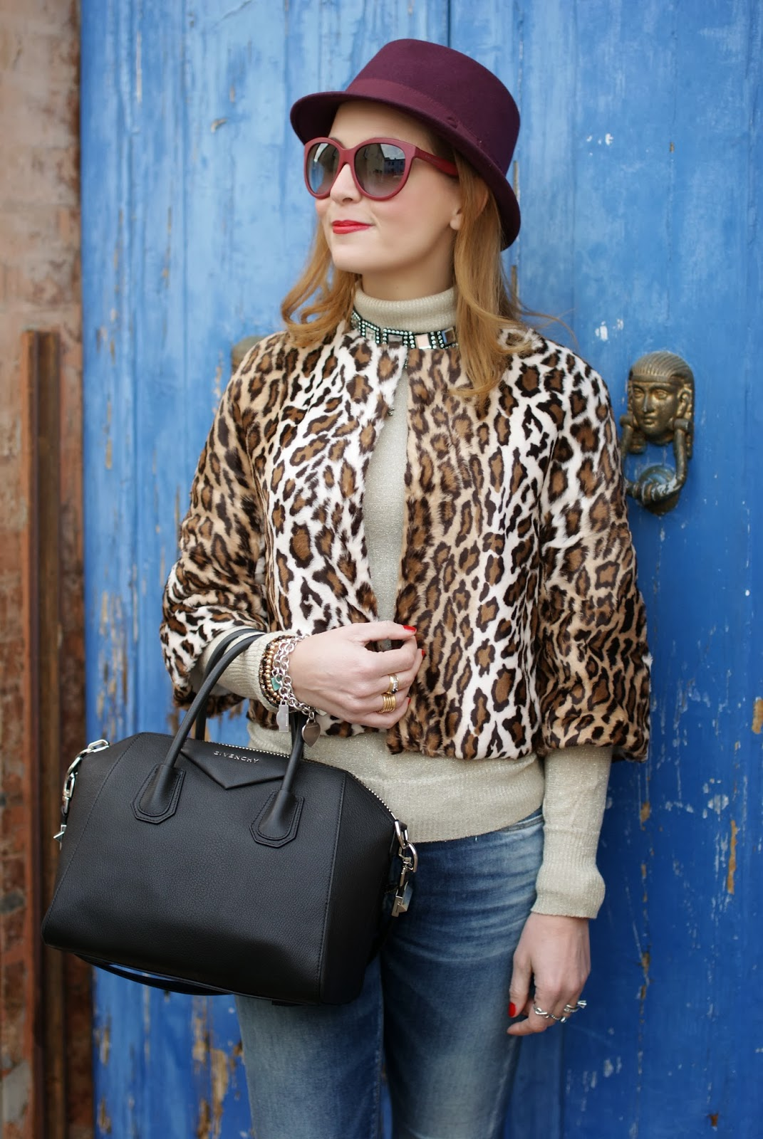 short leopard print furry jacket, Nora barth jacket, Givenchy Antigona, Fashion and Cookies, fashion blogger