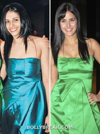 Katrina and Sneha in green and blue strapless bow dress - (3) - Who looks better ??