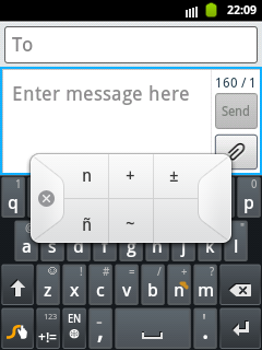 Swype Keypad for small letter ñ
