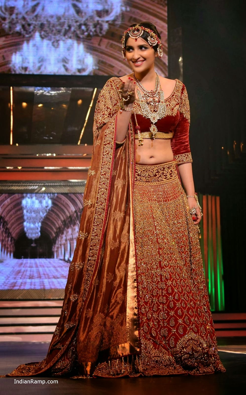 Parineeti Chopra In A Red Lehenga Choli Bridal Dress At