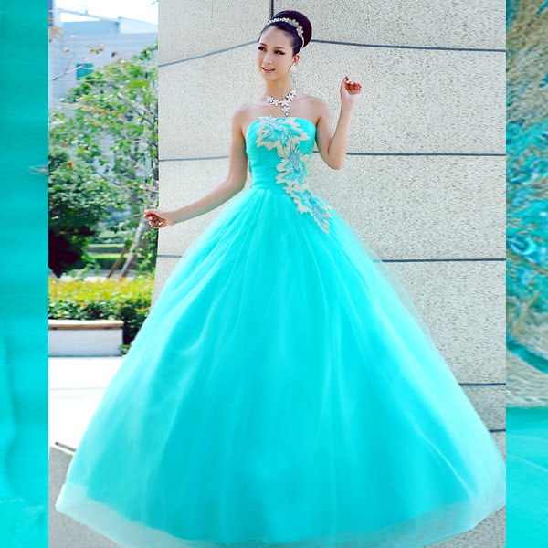 Blue quinceanera angel dresswedding gowns