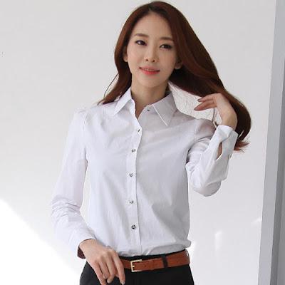 Baju Kemeja Putih Wanita Bahan Katun