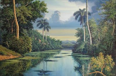amanecer-gris-con-rio-y-palmeras-al-oleo