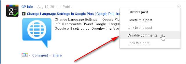Google+ Disable Comments