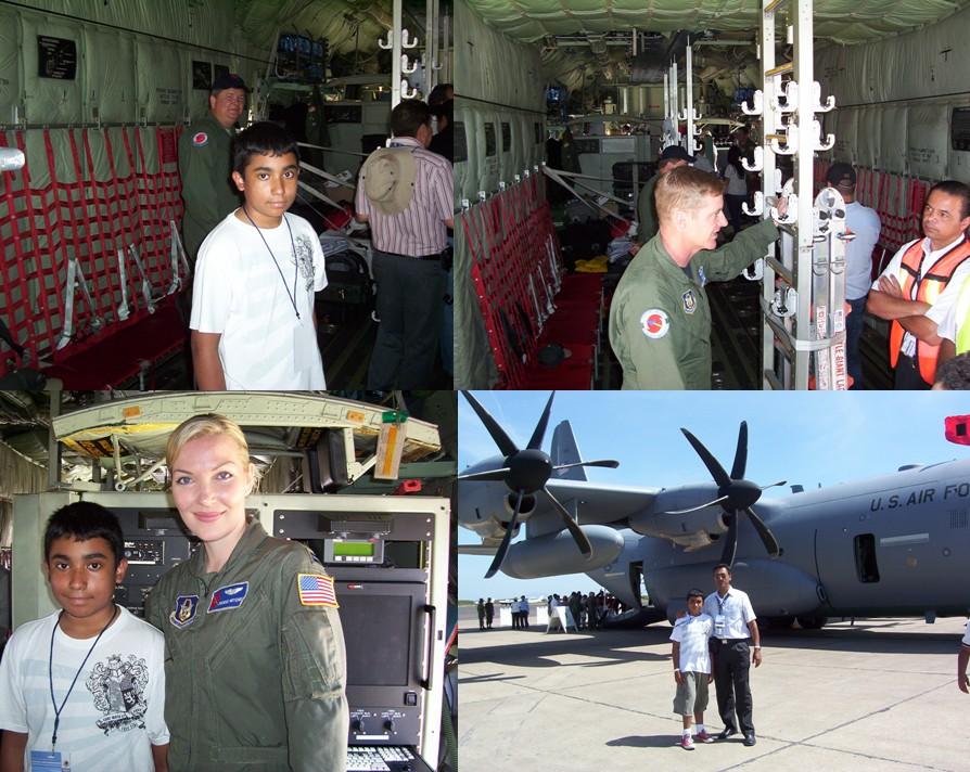 Victor Jr. en la Panza de un cazahuracanes Hercules C-130J