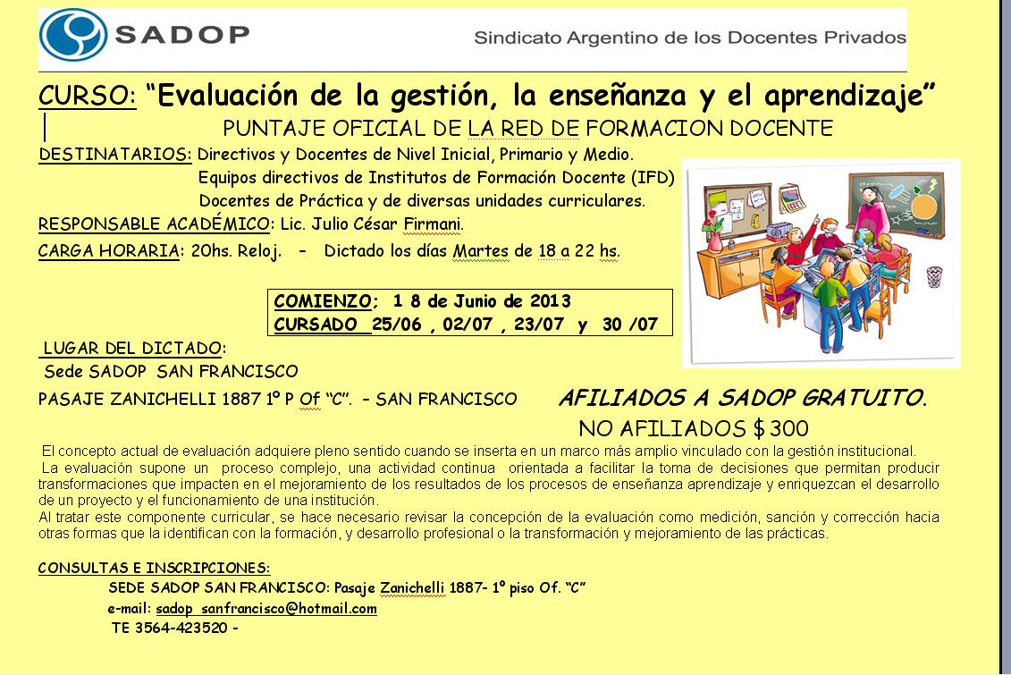 """SADOP Córdoba OSDOP : """"Evaluación de la gestión, la enseñanza y el ..."""