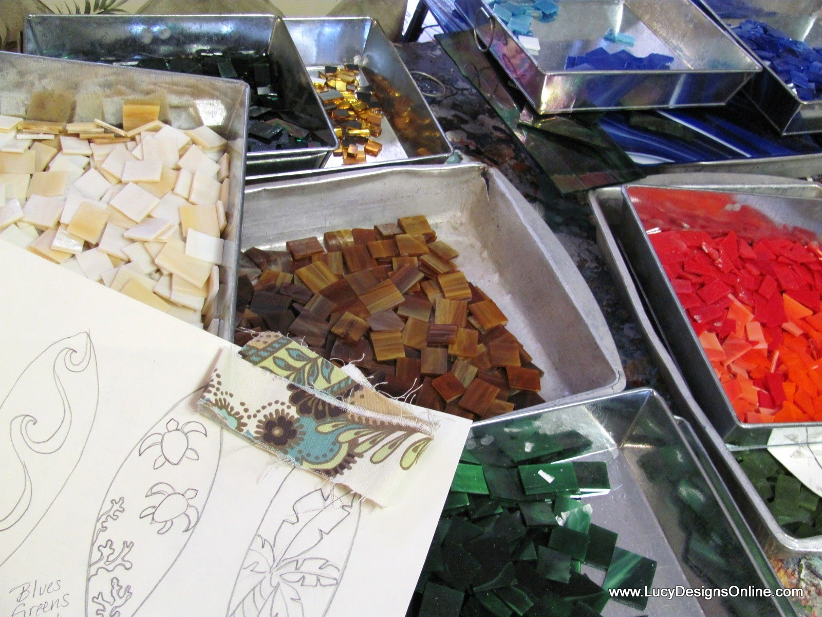 hand cut stained glass tiles for mosaic surfboard