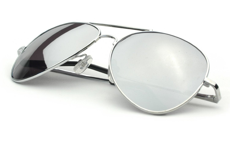 Sunglasses aviator sunglasses silver frame mirror lens for Mirror sunglasses