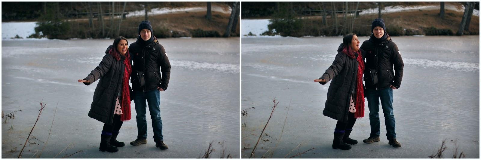 andar no lago congelado no inverno na noruega
