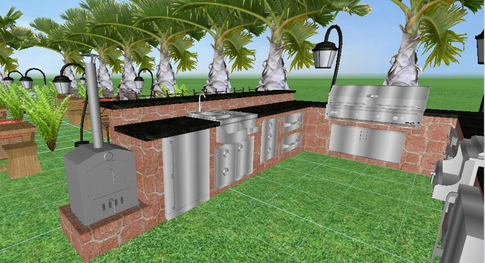 Mode concrete complimentary outdoor kitchen 3d design Outdoor kitchen cost estimator
