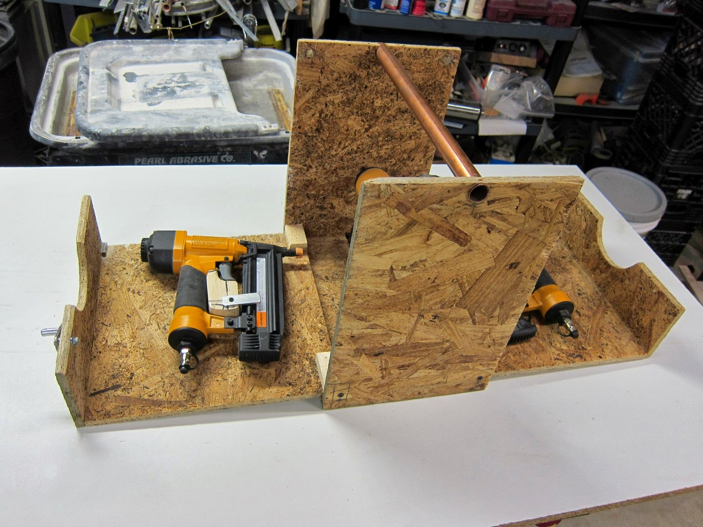 fold out tool case, nail gun