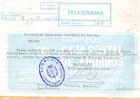 Telegrama. Fecha 7 de octubre de 1983