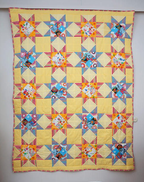 yellow patchwork quilt