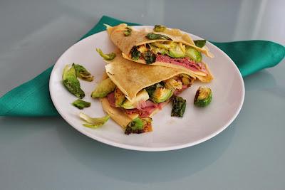 Corned beef on rye crepes with brussels sprouts