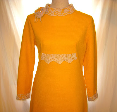 Yellow Women's Dress, Embellished with Vintage Crochet and Lace, Adorned with Handmade Rosette Flower having Pearl Beads