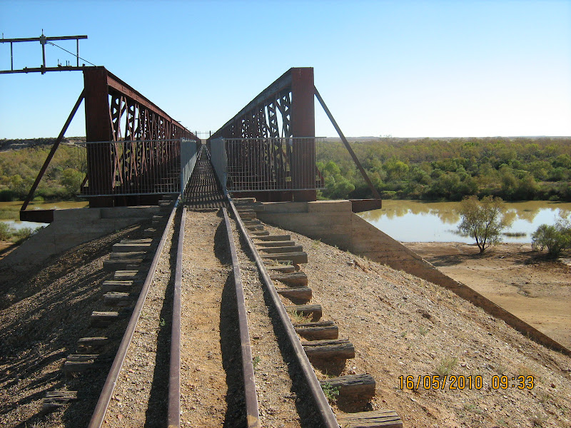 Old Ghan Railway line over Algebuckina Waterh ole title=