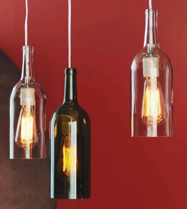 Ecomania blog convierte en l mparas tus botellas favoritas - Lamparas con botes de cristal ...