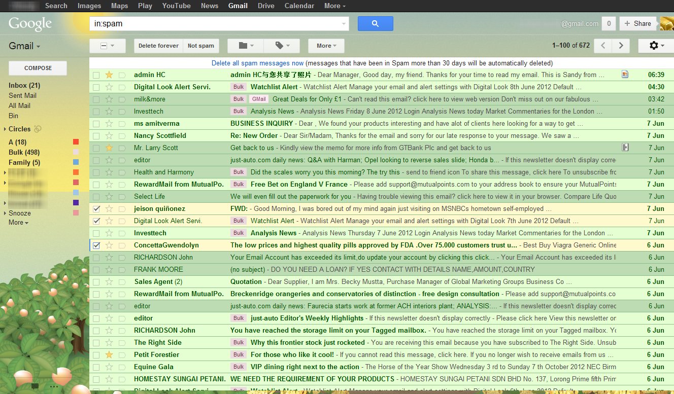 Gmail theme tea house