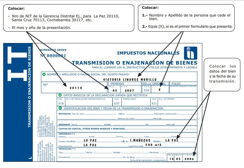 Form 430 transferencia de bienes